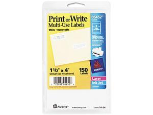 Avery 05452 Print or Write Removable Multi-Use Labels, 1-1/2 x 4, White, 150/Pack