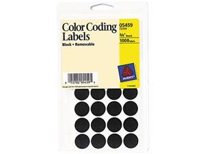 Avery 05459 Removable Self-Adhesive Color-Coding Labels, 3/4in dia, Black, 1008/Pack