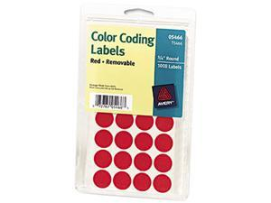 Avery 05466 Print or Write Removable Color-Coding Labels, 3/4in dia, Red, 1008/Pack