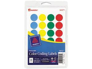 Avery 05472 Print or Write Removable Color-Coding Labels, 3/4in dia, Assorted, 1008/Pack
