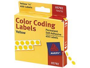 Avery 05792 Permanent Self-Adhesive Color-Coding Labels, 1/4in dia, Yellow, 450/Pack