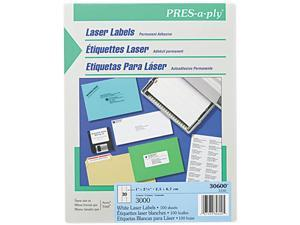 Avery 30600 Pres-A-Ply Laser Address Labels, 1 x 2-5/8, White, 3000/Box