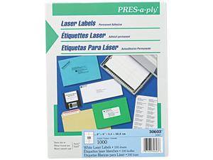 Avery 30603 Pres-A-Ply Laser Address Labels, 2 x 4, White, 1000/Box