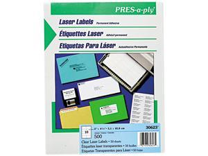 Pres-A-Ply Laser Address Labels, 2 x 4-1/4, Clear, 500/Box