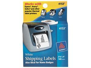 Avery 4153 Shipping Labels, 2-1/8 x 4, White, 140/Roll, 1 Roll/Box
