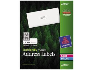 Avery 48160 EcoFriendly Labels, 1 x 2-5/8, White, 750/Pack