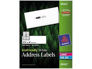 Avery 48462 EcoFriendly Labels, 1-1/3 x 4, White, 1400/Pack