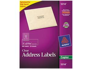 Avery 5314 Self-Adhesive Mailing Labels for Copiers, 1 x 2-13/16, Clear, 660/Pack