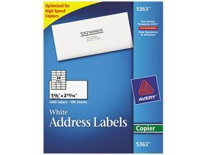 Avery 5363 Self-Adhesive Address Labels for Copiers, 1-3/8 x 2-13/16, White, 2400/Box