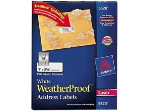 Avery 5520 White Weatherproof Laser Shipping Labels, 1 x 2-5/8, 1500/Pack
