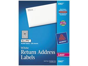 Avery 5967 Return Address Labels, 1/2 x 1-3/4, White, 20000/Box