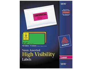 Avery 5978 High-Visibility Laser Labels, 2 x 4, Assorted Neons, 150/Pack