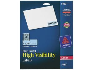 Avery 5980 High-Visibility Laser Labels, 1 x 2-5/8, Pastel Blue, 750/Pack