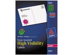 Avery 5994 Burst Laser Labels, 1-1/2in dia, Assorted Neon Colors, 360/Pack