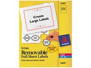 Avery 6465 Removable Inkjet/Laser ID Labels, 8-1/2 x 11, White, 25/Pack
