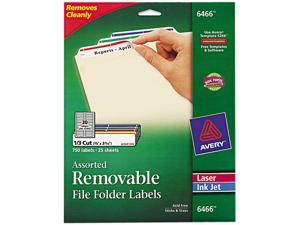 Avery 6466 Removable Filing Labels for Inkjet/Laser, 2/3 x 3-7/16, Assorted, 750/Pack