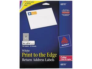 Avery 6870 Return Address Labels for Color Laser & Copier, 3/4 x 2-1/4, Matte White, 750/PK