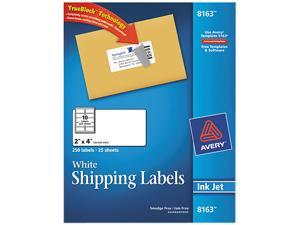 Avery 8163 Shipping Labels with TrueBlock Technology, 2 x 4, White, 250/Pack