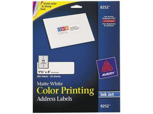 Avery 8252 Inkjet Labels for Color Printing, 1-1/3 x 4, Matte White, 280/Pack