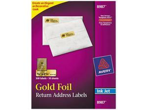 Avery 8987 Foil Mailing Labels, 3/4 x 2-1/4, Gold, 300/Pack
