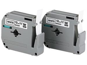 Brother M-2312PK M Series Tape Cartridges for P-Touch Labelers, 1/2w, Black on White, 2/Pack