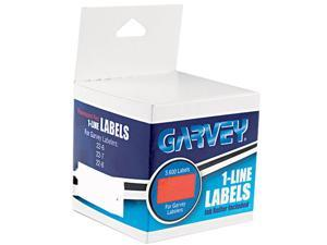 Garvey 090945 One-Line Pricemarker Labels, 7/16 x 13/16, Fluor. Red, 1200/Roll, 3 Rolls/Box