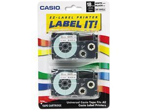 Casio XR18WE2S Tape Cassettes for KL Label Makers, 18mm x 26ft, Black on White, 2/Pack