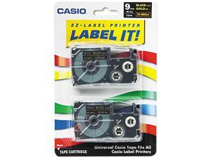 Casio XR9BKG2S Tape Cassettes for KL Label Makers, 9mm x 26ft, Gold on Black, 2/Pack