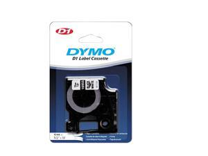D1 Permanent High-Performance Polyester Label Tape, 1/2in x 18ft, Black on White