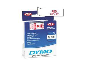DYMO 45015 D1 Standard Tape Cartridge for Dymo Label Makers, 1/2in x 23ft, Red on White