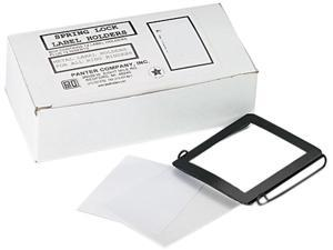 Panter Company SL-2 Spring-Lock Metal Label Holders, Top Load, 2 x 2-3/4, Black/Clear, 12/Pack
