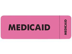 Tabbies 03090 Medical Labels for Medicaid, 1 x 3, Fluorescent Pink, 250/Roll