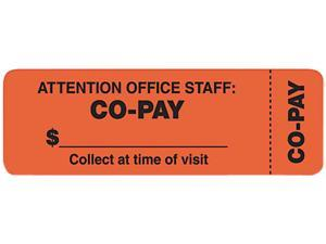 "Tabbies 40566 ""Attention Office Staff"" Medical Labels, 1 x 3, Orange, 500/Roll"
