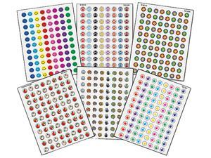 Mini Stickers Variety Pack, Six Assorted Designs/Colors, 3168/Pack