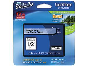 Brother TZE131 TZe Standard Adhesive Laminated Labeling Tape, 1/2w, Black on Clear