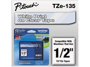 "Brother P-Touch TZ Series Tape Cartridge, 0.5""w, White on Clear"
