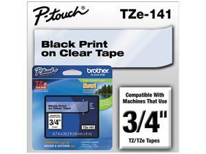 "Brother P-Touch TZ Series Lettering Tape, 0.75""w, Black on Clear"