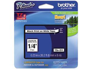 "Brother TZE211 TZ Label Tape Cartridge 0.25"" Width x 26 ft Length - 1 Each - White"