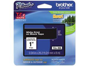 "Brother P-Touch TZ Series Lettering Tape, 1""w, White on Black"