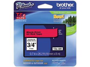 "Brother P-Touch TZ Series Lettering Tape, 0.75"", Black on Red"
