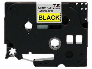 "Brother P-Touch TZ Series Tape Cartridge, 0.5"", Black on Yellow"