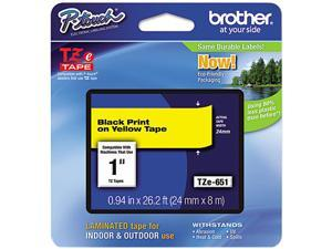 Brother TZE651 TZe Standard Adhesive Laminated Labeling Tape, 1w, Black on Yellow
