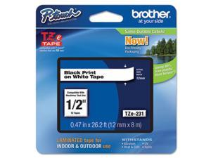 "Brother  TZE-231 12mm (0.47"") Black on White tape for P-Touch 8m (26.2 ft)"