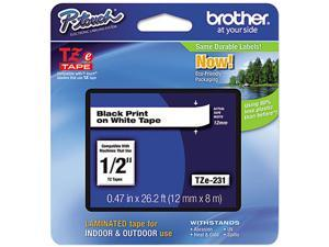 "Brother P-Touch TZ Series Tape Cartridge , 0.5""w, Black on White"