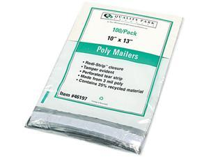 Quality Park 46197 Redi-Strip Recycled Poly Mailer, Side Seam, 10 x 13, White, 100/Pack