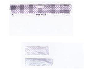 Quality Park 67529 Reveal-N-Seal Double Window Invoice Envelope, Self-Adhesive, White, 500/Box