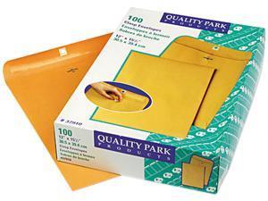 Quality Park 37910 Clasp Envelope, 12 x 15 1/2, 28lb, Light Brown, 100/Box