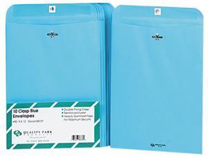 Quality Park 38737 Fashion Color Clasp Envelope, 9 x 12, 28lb, Blue, 10/Pack