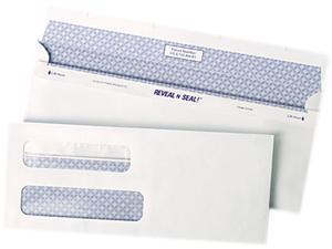 Quality Park 67539 Reveal-N-Seal Double Window Check Envelope, Self-Adhesive, White, 500/Box