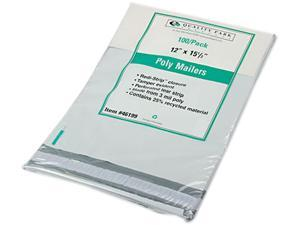 Quality Park 46199 Redi-Strip Recycled Poly Mailer, Side Seam, 12 x 15 1/2, White, 100/Pack